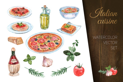 Watercolor italian cuisine dishes set