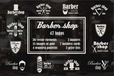 Set of barbershop emblems and logos
