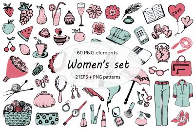 Women's set, hand-drawn