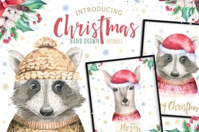 Christmas raccoon and deer animals