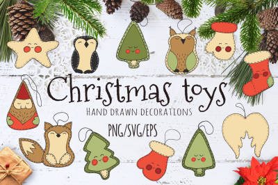 Christmas toys Hand drawn decorative Set