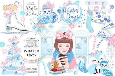WINTER DAYS digital papers