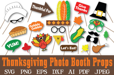 Thanksgiving Photo Booth Props - SVG Cut Files - DXF - PNG - JPEG - PDF - EPS - AI