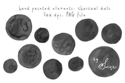 Black watercolor dots