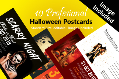 10 Halloween Postcard Bundle