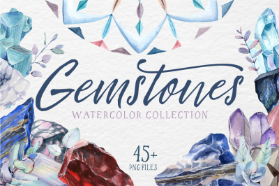 GEMSTONES watercolor collection