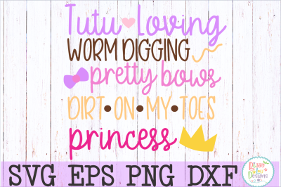 Tutus and worms saying SVG DXF EPS PNG JPEG cutting file