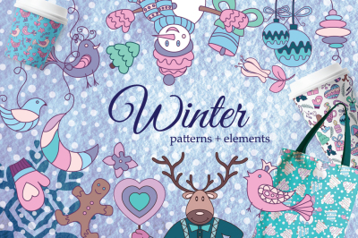 Winter Set, seamless patterns and elements