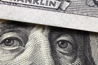 Detail of one hundred dollars bill.  Close-up background.