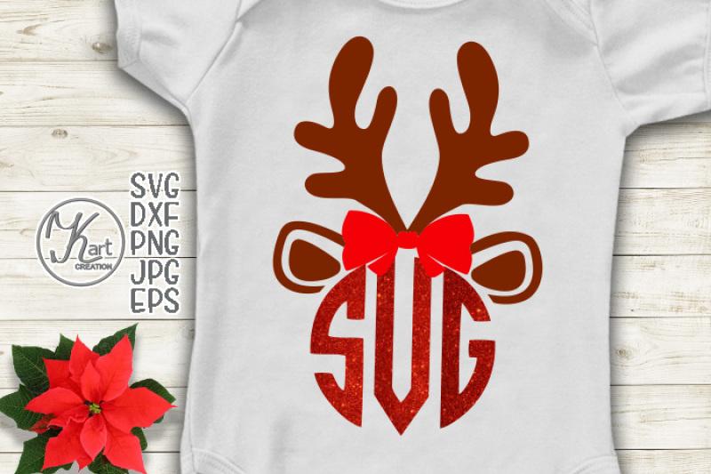reindeer-monogram-svg-christmas-monogram-svg-antlers-monogram-svg-reindeer-face-with-bow-svg-reindeer-baby-girl-svg-reindeer-svg-file