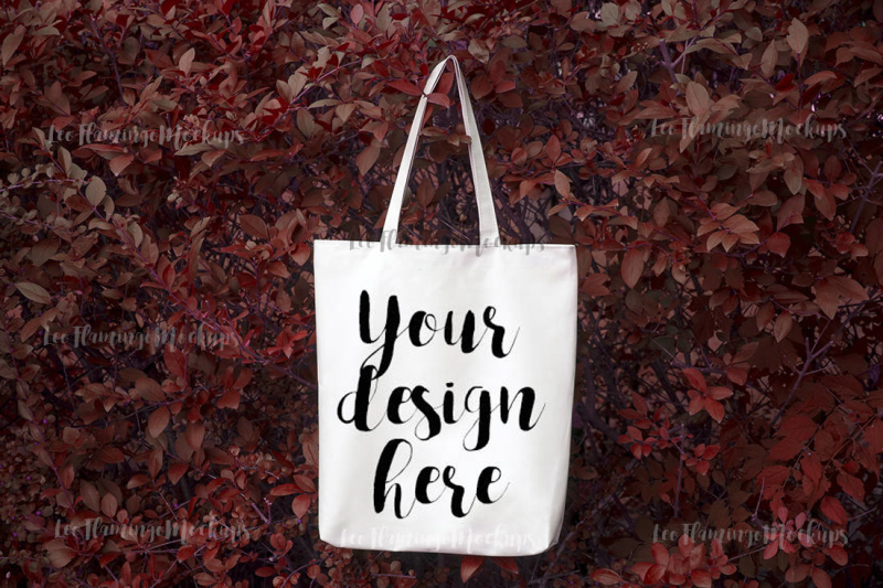 Free Autumn fall winter tote shopping grocery bag mockup Halloween mock up (PSD Mockups)