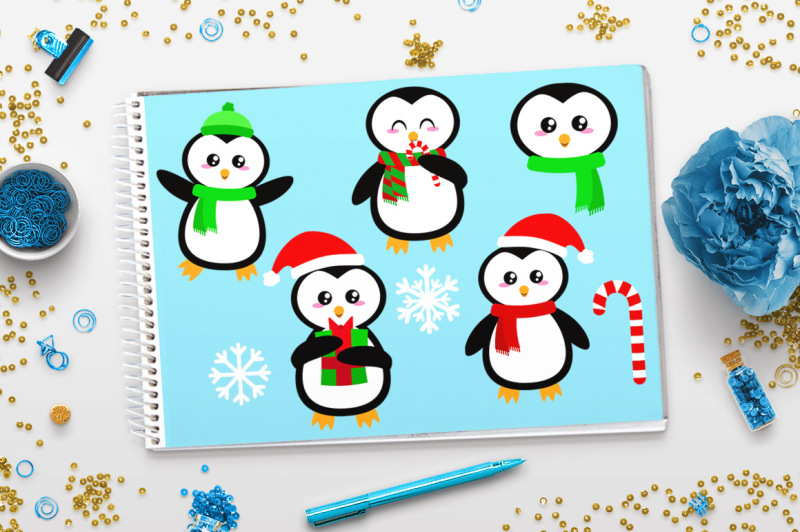 holiday-penguins-clipart-christmas-clipart-holiday-clipart-animal-clipart-scarf-penguins-cute-penguin