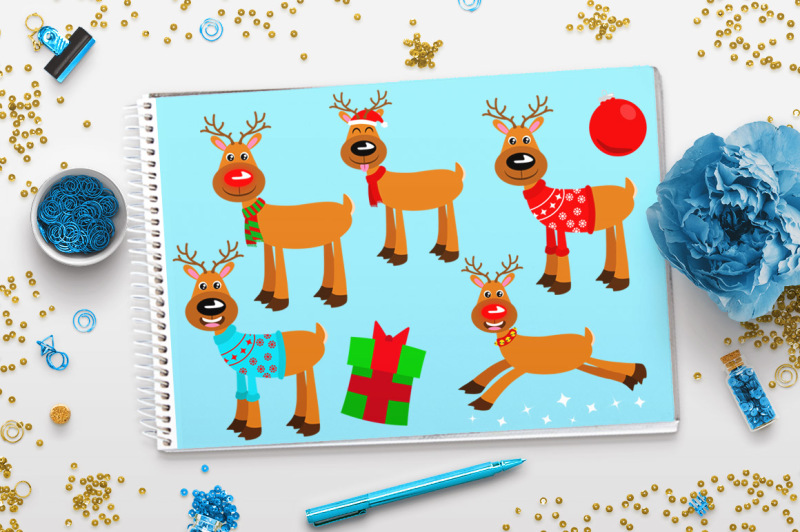 Holiday Reindeer Clipart, Rudolph Clipart, Christmas ...