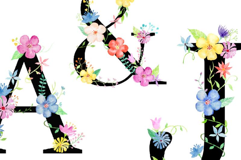watercolor-floral-alphabet-black