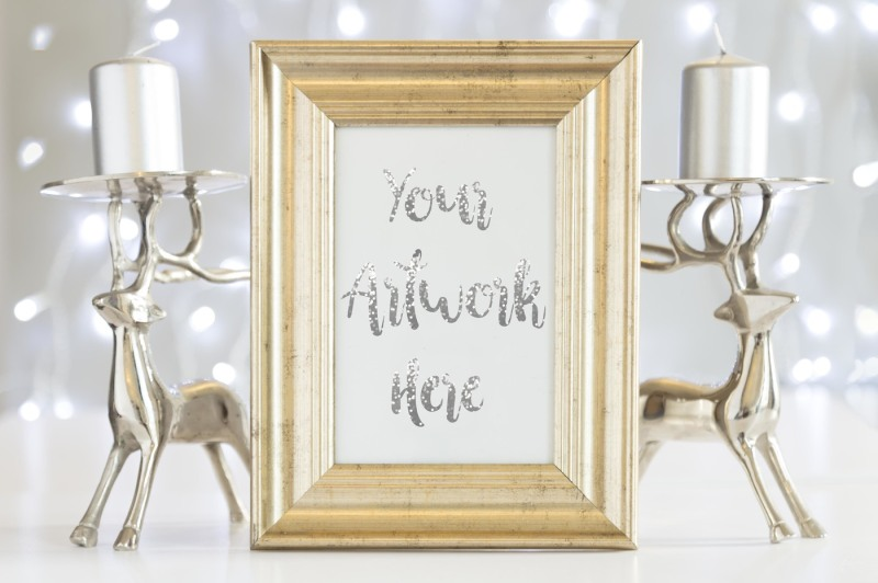 Free Gold frame mockup-silver christmas (PSD Mockups)