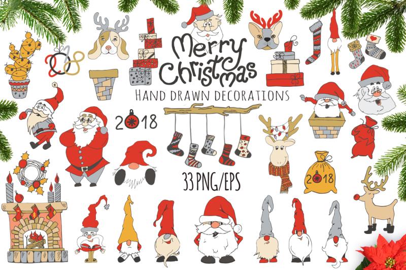 merry-christmas-nbsp-hand-drawn-decorations-set