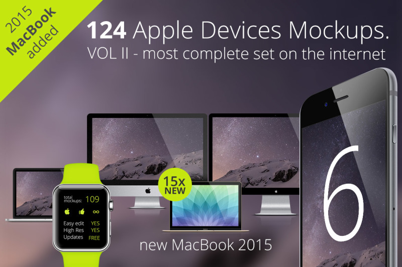 Free 124 Apple Responsive Devices (PSD Mockups)