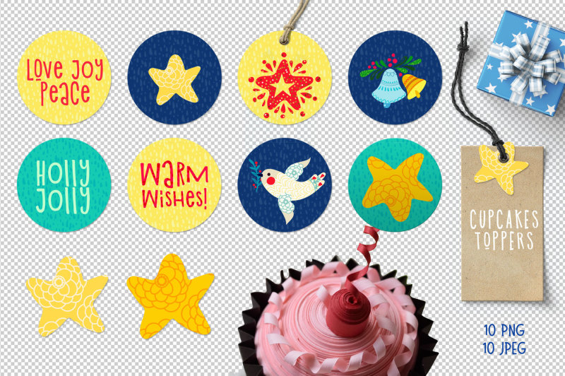 christmas-gift-tag-cupcakes-toppers
