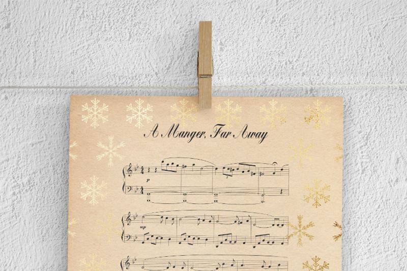 Christmas Songs Digital Paper By North Sea Studio Thehungryjpeg Com