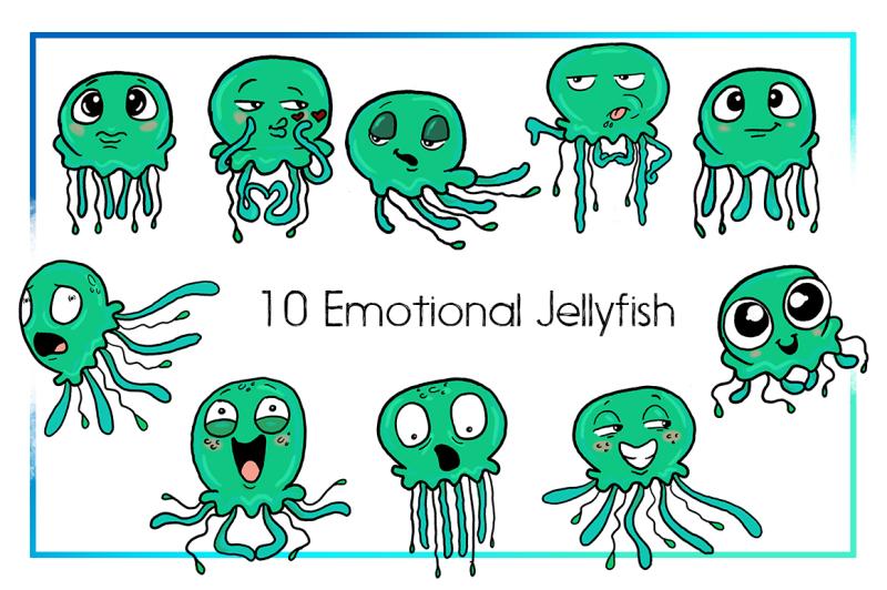 Jellyfish Clipart-Sea Clipart-Nautical Clipart-Cartoon ...