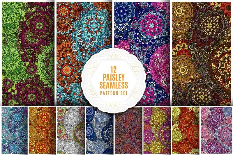 vector-paisley-seamless-pattern-set