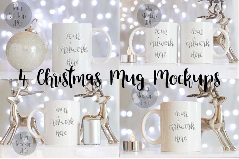 Free 4 Christmas Mug Mockups (PSD Mockups)