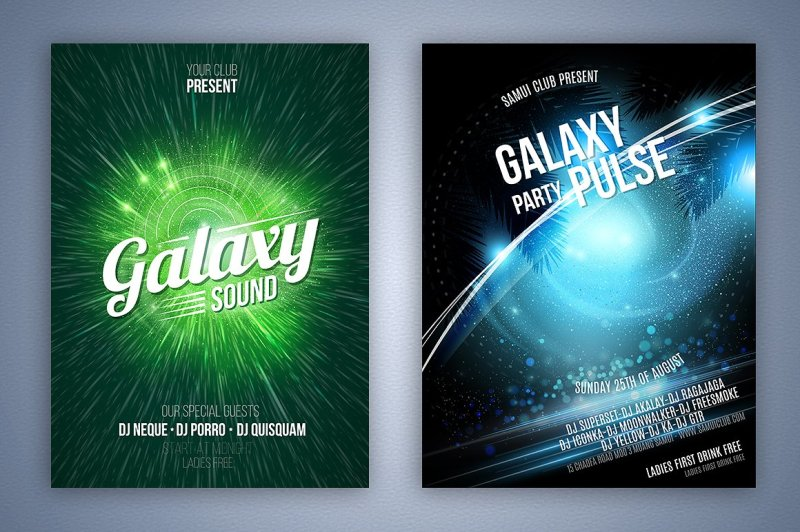 set-of-vector-party-flyers
