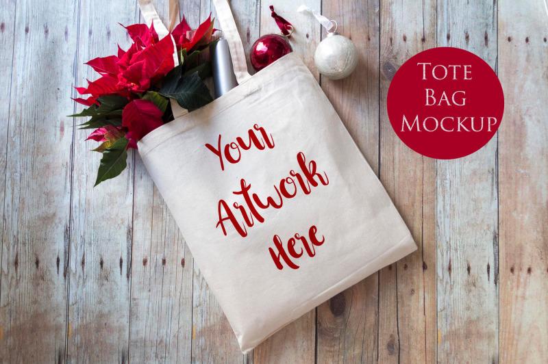 Free Tote bag mockup- Christmas (PSD Mockups)