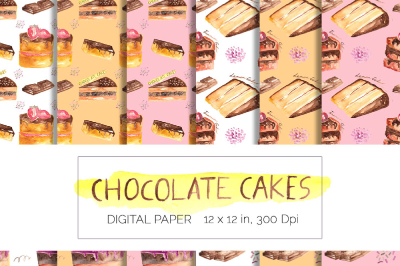 chocolate-cakes-watercolor-clipart