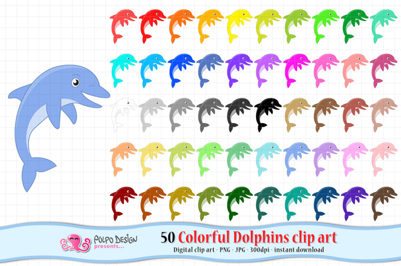 colorful-dolphins-clipart