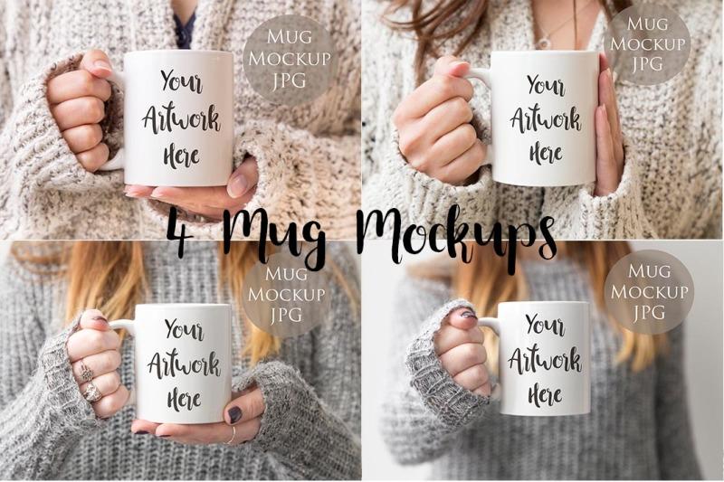 Free 4 Mug mockups - woman holding mug (PSD Mockups)