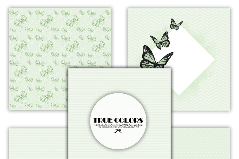 mint-green-dreams-baby-paper-pack-fashion-illustration-planner-sticker-supplies-seamless-green-black-butterfly-butterflies-ribbon-watercolor