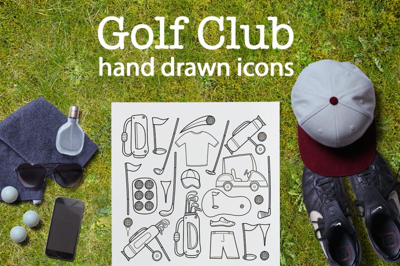 golf-club-hand-drawn-icon