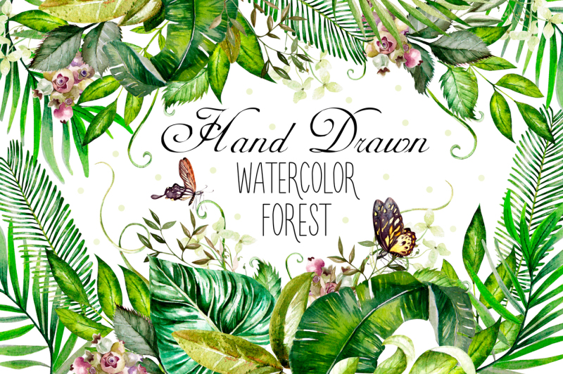 hand-drawn-watercolor-forest