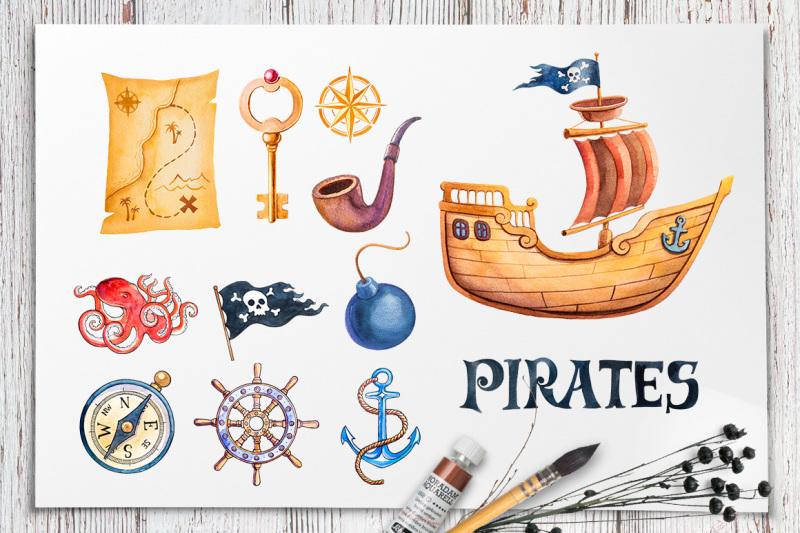 pirates-watercolor-illustrations