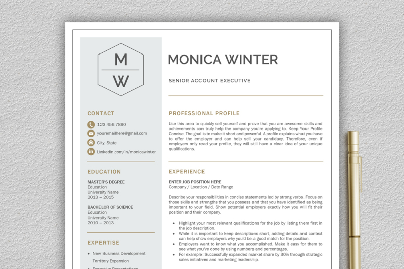 Professional And Modern Resume Template For Word Creative