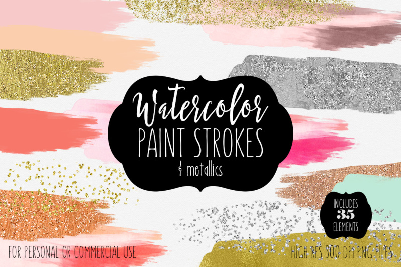 metallic-rose-gold-silver-and-watercolor-paint-strokes
