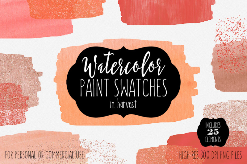 harvest-watercolor-paint-strokes-brush-swatches-peach-coral-rust