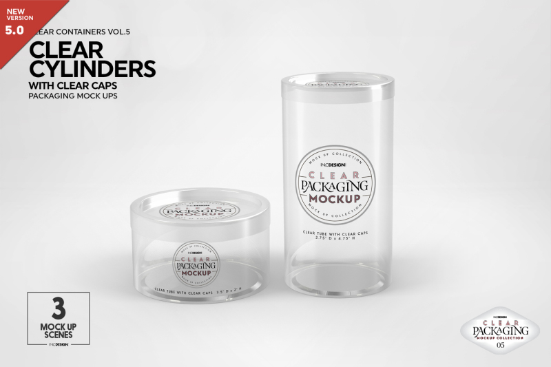 Free Clear Cylinders w Clear Caps Mockups (PSD Mockups)