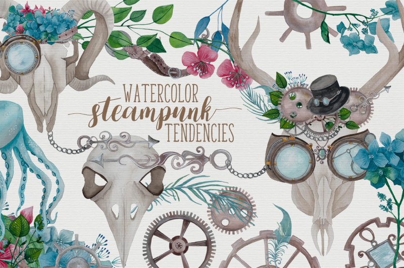Watercolor Steampunk Graphics
