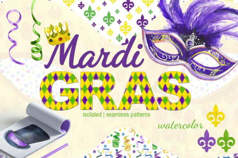 mardi-gras-watercolor-set