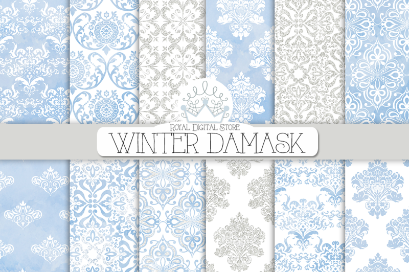 winter-damask-watercolor-digital