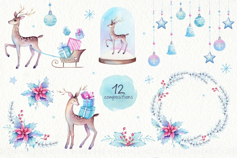 christmas-deer-watercolor-set