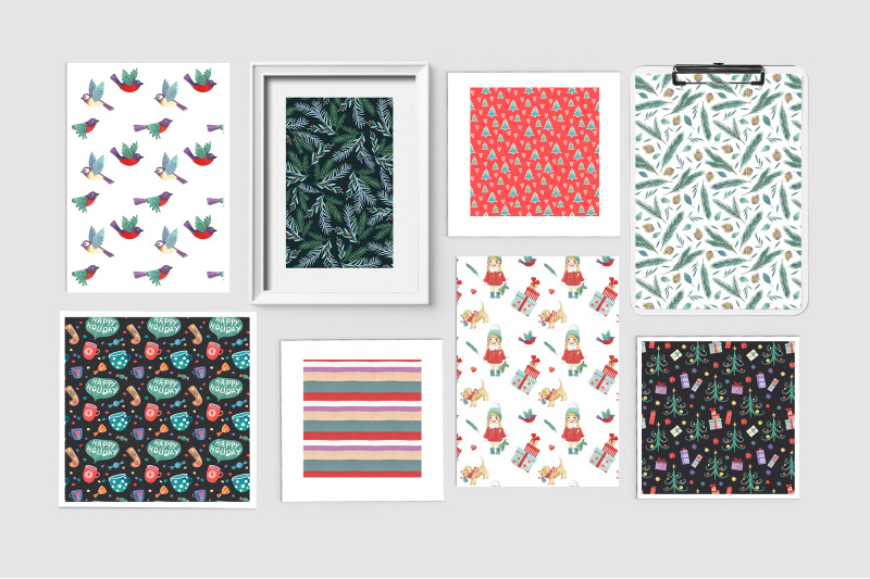 watercolor-christmas-patterns