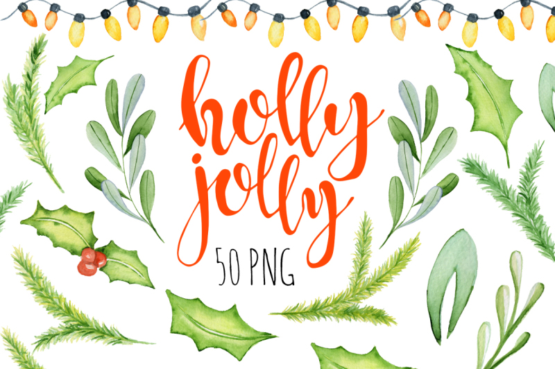 christmas-floral-watercolor-clipart-holly-jolly