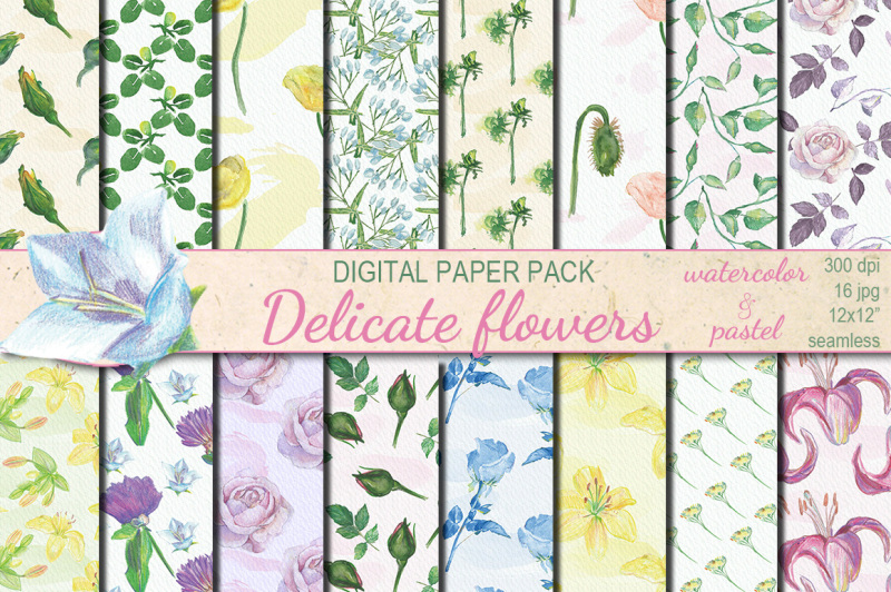 watercolor-delicate-flowers-seamless-papers