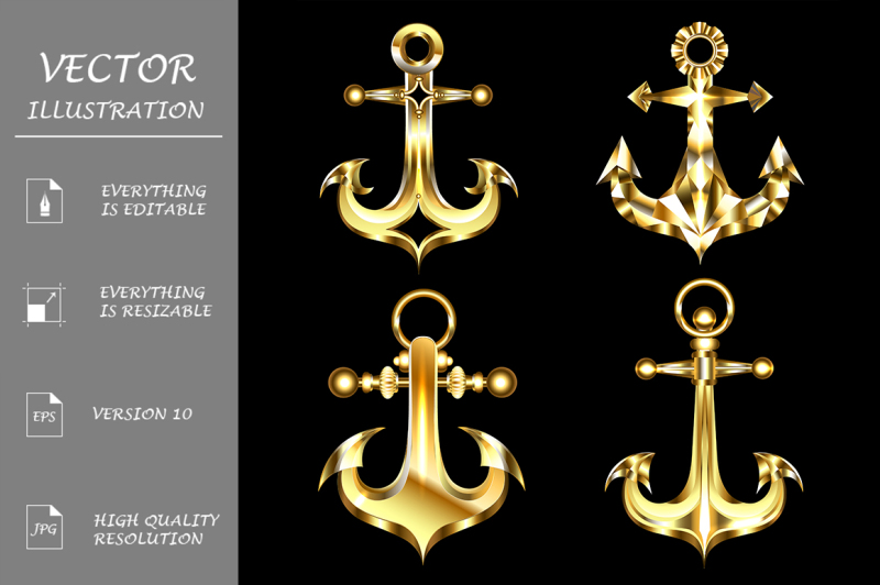 set-of-gold-anchors