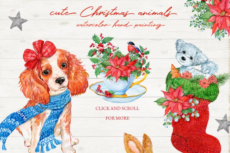 Merry Christmas Animals.Merry Christmas Cute Animals By Clipart Shop Thehungryjpeg Com