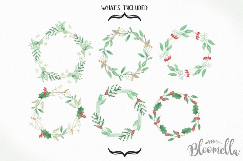 6-watercolour-seasons-wishes-wreaths-clipart-christmas-festive-winter-hand-painted-garlands-clip-art-instant-download-pngs-merry-holidays