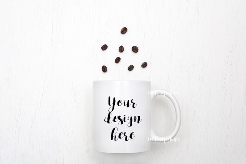 Free White Mug Mockup coffee beans flat lay cup mock up template psd smart (PSD Mockups)